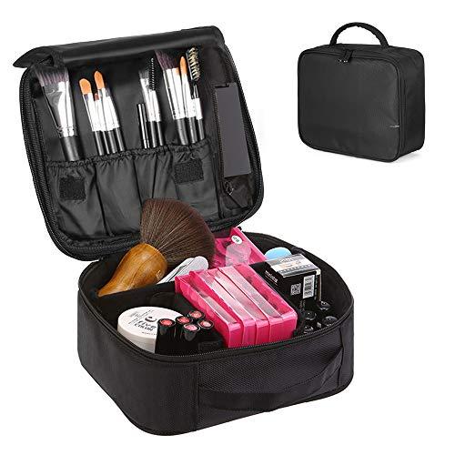 Trousse Make Up, Borsa Cosmetica, Beauty Case Donna Trucchi Porta Trucchi da Viaggio Organizer Professionali con 5x Specchio e Manico (Nero)