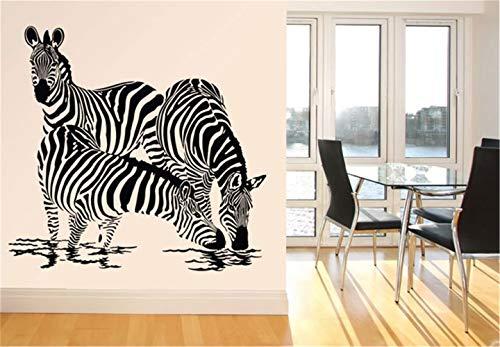 wandaufkleber Drei Zebras, die auf einem Wasserloch-Dekor-Aufkleber-Wand-Abziehbild-Haus trinken (Türkis Und Zebra-wand-dekor)