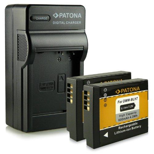 ¡Novedad! - 4en1 Cargador + 2x Batería come DMW-BLH7 / DMW-BLH7E para Panasonic Lumix DMC-GM1 [Li-Ion - 600mAh - 7.2V]