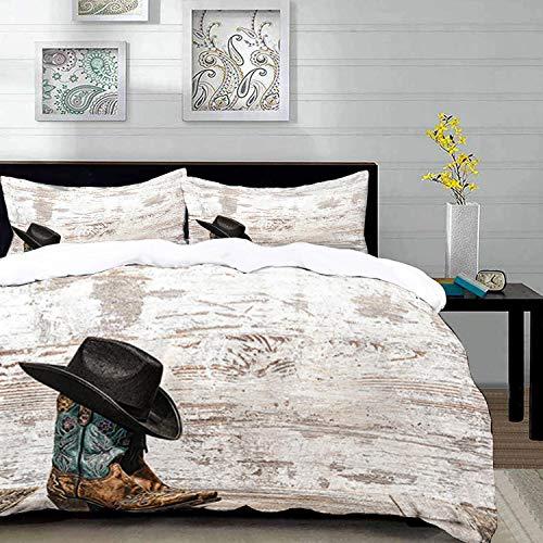 Yaoni Bettwäsche-Set, Mikrofaser,Western, traditioneller Rodeo-Cowboyhut und Cowgirl-Stiefel in einem Retro-Grunge-Hintergrund-Kunstfoto, Blau, 1 Bettbezug 220 x 240cm + 2 Kopfkissenbezug 80x80cm