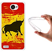 Funda LG X150 Bello 2, WoowCase [ LG X150 Bello 2 ] Funda Silicona Gel Flexible Bandera España y Toro, Carcasa Case TPU Silicona - Transparente