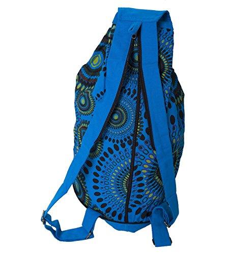 Kunst und Magie Bunter Hippie Rucksack Blau