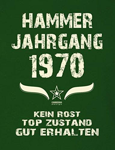 Geschenk zum 47. Geburtstag :-: Geschenkidee Herren Geburtstags-Sprüche-T-Shirt mit Jahreszahl :-: Hammer Jahrgang 1970 :-: Geburtstagsgeschenk Männer :-: Farbe: dunkelgrün Dunkelgrün