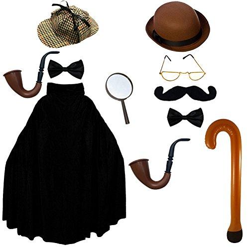 ILOVEFANCYDRESS 2 BERÜHMTE DETEKTIVE AUS DEM VIKTORIANISCHEN England AUS DER Jack The Ripper Zeit = 2 Verschiedene HÜTE= 2 FLIEGEN=1 UMHANG=2 PFEIFEN=1 Schnurrbart=1 - Holmes Und Watson Kostüm