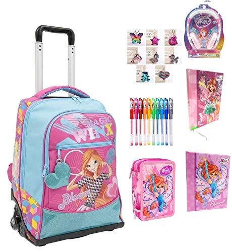 Trolley zaino scuola winx bloom fucsia + astuccio 3 piani completo zip + diario + omaggio cuffie + portachiave girabrilla + 10 penne colorate + segnalibro