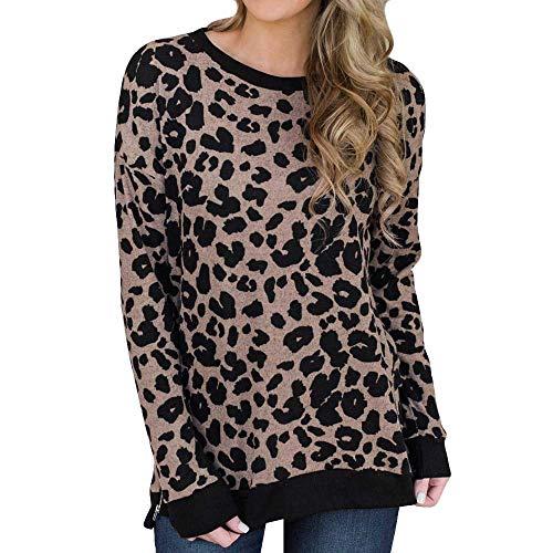 (Mymyguoe Damen Langarmshirt Leopard-Druck Hemd Slim Fit Saum Bluse Abgerundeter Schöne Shirt Freizeit Oberteil Mode Langarm O Ausschnitt Casual Gedruckt Sweatshirt Longshirt Top)