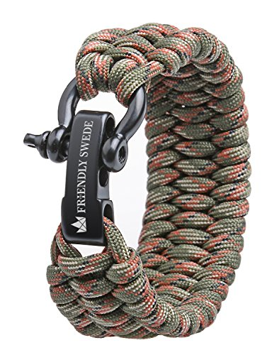 The Friendly Swede Paracord Armband, extra breit und einstellbar Survival Outdoor Trilobit Überlebensarmband mit Edelstahlverschluss (Verschiedene Grössen)