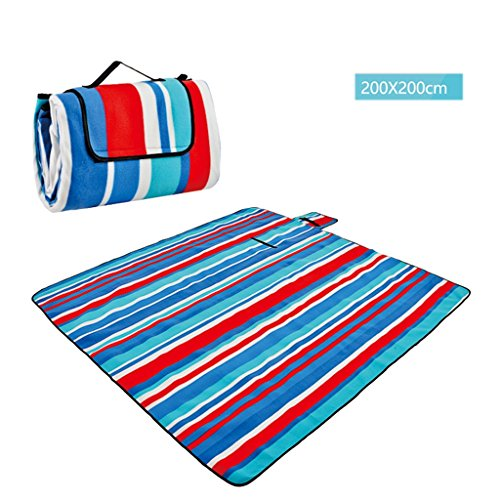 wysm Tappetino da picnic 200 * 200cm barriera di umidità tappeto da spiaggia tenda da pic-nic tenda da campeggio ispessimento impermeabile ( Colore : Stripes 03 ) Stripes 01
