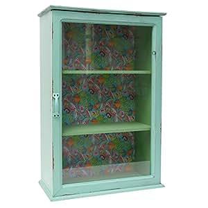 wandschrank h ngeschrank vitrine holz t rkis bunt shabby. Black Bedroom Furniture Sets. Home Design Ideas