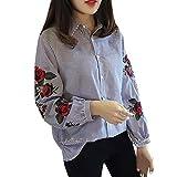 Reaso Mode Femme Blouse Chic Chemise Casual Shirt Col V Manches Longues Top Dames Elegant spandex Chemisier Rose Floral Imprimé Loose Haut (S, Bleu)