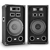 """Auna PA-1200 Set Coppia Casse Altoparlanti Audio Fullrange a 3 vie (2 x 500 Watt, Bass-Reflex, Woofer da 12"""" (33 cm), maniglie laterali)"""