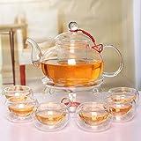 Beddingleer 600ml Tertera Juego de Té con Infusor, Tetera, Calentador y 6 Tazas de Té con Pared Doble, 600 ml, Transparentes, Diseño Elegante, Resistente al Calor