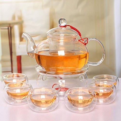 Beddingleer Ensemble de théière en verre élégant résistant à la chaleur Infuse Théière + Cuisinière + 6 Gobelets de thé Double Wall 600 ml