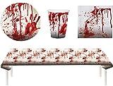 Blutiges Party Set Halloween Horror Blut 37 Teile Teller, Becher, Servietten, Tischdecke, Partygeschirr