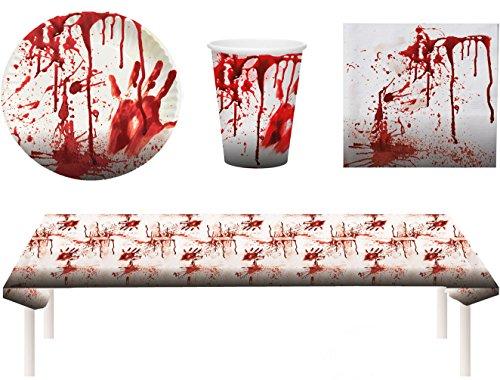Blutiges Party Set Halloween Horror Blut 37 Teile Teller, Becher, Servietten, Tischdecke, Partygeschirr (Halloween Tischdecke)