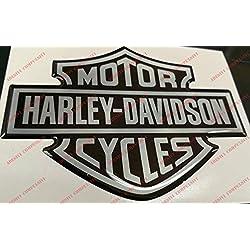 Escudo, logotipo, calcomanía, Harley Davidson, logotipo clásico, adhesivo resinado, efecto 3D.Para depósito o casco.