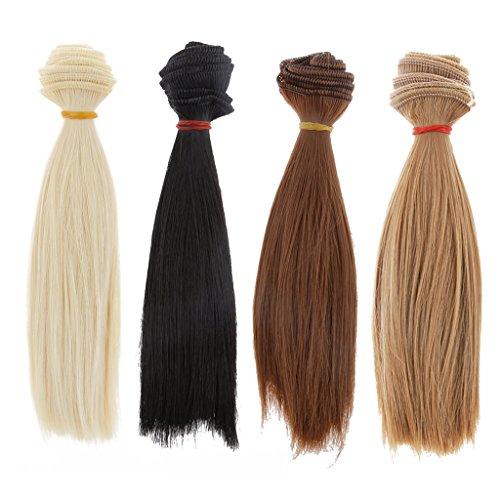 Homyl 4pcs DIY Poupée Perruque Cheveux Raides pour BJD SD Barbie Dolls 15x100cm