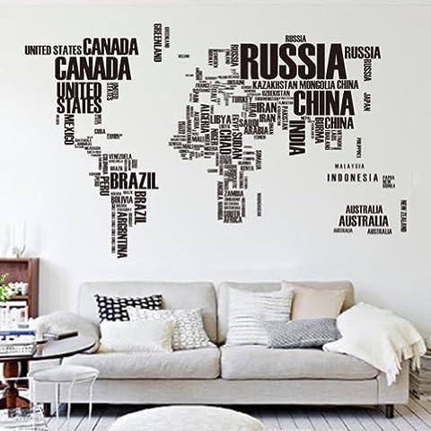 Mur Autocollants Lettres Monde Carte Amovible Décalque Art Peinture Murale HG-0449