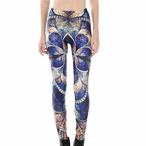 Frauen Auffällige Blaue Lotus Leggins Ziemlich 3D Drucken Enge Hosen