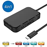 weton USB C Hub, 4 in 1 Typ-C Hub Adapter Dex Station USB C auf 4K HDMI/VGA/DVI/Mini Display Multiport Adapter für MacBook Pro 2016/2017, MacBook, Sumsung S8, Huawei Mate 10 und mehr