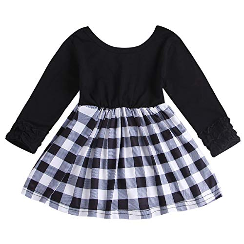 Kleine Kinder Baby Mädchen Langarm Kleid Weiß und Schwarz kariertes Tunika Swing Kleid (Color : Black, Size : 6-12M) (Und Kleine Mädchen Kleider Weiße Für Schwarze)
