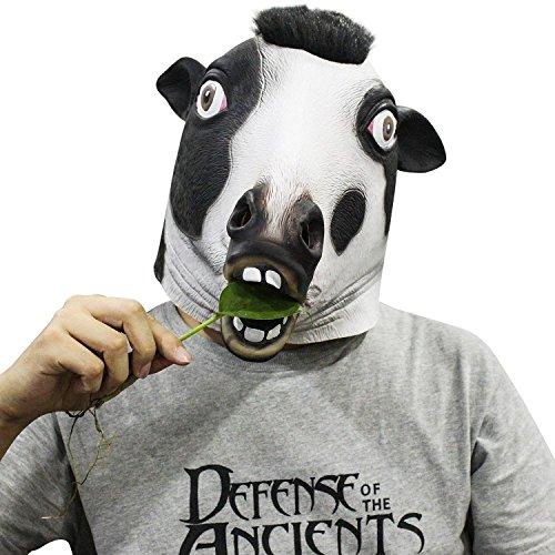Cusfull Halloween Maschera Maschera di animali in lattice del per il costume di Halloween di Natale Costume partito decorazioni accessorio adulti -testa di vacca da latte
