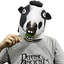 Cusfull Máscara De Látex Animales Disfrazarse de adultos de Halloween Props cabeza máscaras Latex Animal completo cumpleaños fiesta cara máscara Halloween disfraces (vaca lechera)