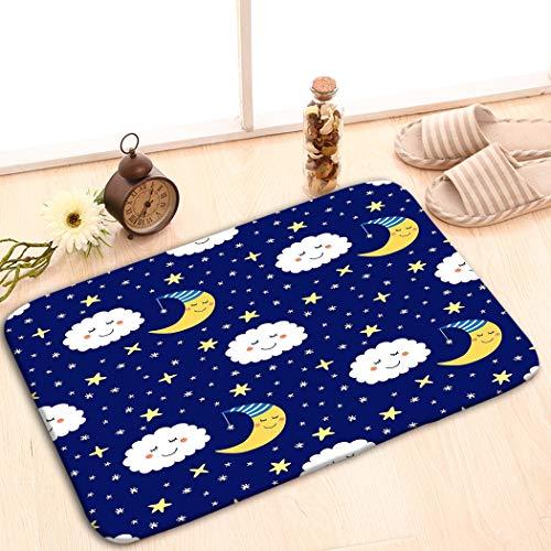 Rectangle Non-Slip Rubber Mat 23.6x15.7 Cute Funny Cartoon Characters Sleeping Moon Stars clo - Schwarze Magie Vakuum