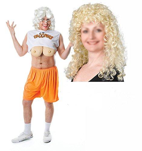 droopers Hooters Herren Hirsch Fancy Kleid Kostüm Outfit mit Blonde (Kostüm Hooters Droopers)