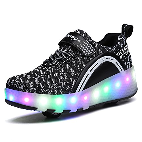 Gute Skateboard-schuhe (Unisex Schuhe mit Rollen Kinder Skateboard Schuhe Rollschuh Schuhe LED Light Wheels Sneakers Outdoor-Trainer für Junge Mädchen (33 EU, Zwei Räder / schwarz))