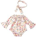 chicolife Cool Personalisierte Muster Design Strampler wenig Kinder heraus passen Set Baby Mädchen Outfit Sets blau/weiß-Overall mit Rüschen Strampler Bodysuit mit Stirnband