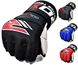 RDX Cow Hide Leather MMA Grappling Gel Gloves Cage Fighting UFC Sparring Glove Training T1 - X-Large., Black
