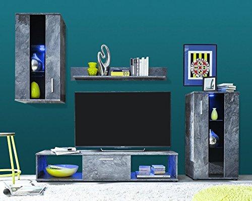 Dreams4Home Wohnkombination 'Alcala', Wohnwand, Anbauwand, Schrankwand, Kombination, Wohnzimmerschrank, Wohnzimmer, (B/H/T) ca. 217 x 171 x 44 cm, in Schiefer Abs. Klarglas mit Siebdruck schwarz, Beleuchtung:Farbwechsel Beleuchtung;Ausführung:ohne Glas-TV-Bühne