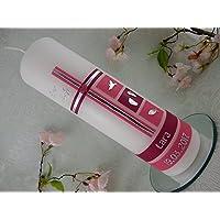 Taufkerze Kreuz rosa pink modern Taufkerzen für Mädchen 250/70 mm individualisiert