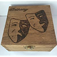 Personalised Wood Jewellery Memory Box 12cm Theatre Masks Drama Student Stage Musical Keepsake Mum Nan Gift Love Rustic Natural Wood Christmas Valentine Birthday Mothers Day Gift