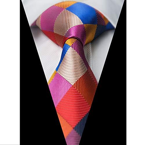 Gewebte Karomuster (Stanley Tie Krawatte, Einstecktuch und Einstecktuch für Herren, Paisleymuster und Karomuster, gewebt, klassisch, Rosa)