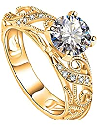 Damen Ring,Dragon868 Luxuriöse Micro Intarsien Ring Diamant-Ring mit vier Klaue Elegant Cut Diamond Ring (8, Gold)