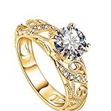 Damen Ring,Dragon868 Luxuriöse Micro Intarsien Ring Diamant-Ring mit vier Klaue Elegant Cut Diamond Ring (7, Gold)