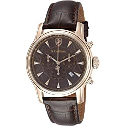 S.Coifman Men's 43mm Brown Leather Band Steel Case Flame-Fusion Crystal Quartz Analog Watch SC0227