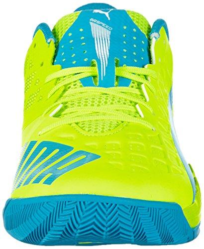Puma Evospeed Indoor 3.4, Chaussures Multisport Indoor mixte adulte Jaune - Gelb (safety yellow-atomic blue-white 03)
