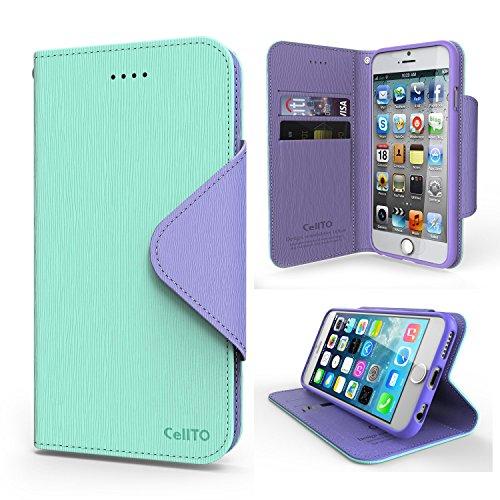 Case iPhone 6S, Cellto PU Housse portefeuille en cuir Support et rabat magnétique réversible [Garantie à vie] Cover Flip pour Apple iPhone 6S - Hot Pink / Rose Mint Lavender