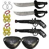 com-four® 10-teiliges Kinder Piraten Zubehör Set mit Säbel, Pistole, Augenklappe, Ohrring und Anhänger für Fasching (10-teilig - 2 Personen)