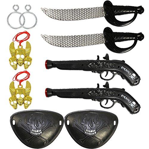 es Kinder Piraten Zubehör Set mit Säbel, Pistole, Augenklappe, Ohrring und Anhänger für Fasching (Piraten Ohrring Und Augenklappe Set)