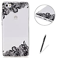 Huawei P8 Lite Transparent case [with Free Black Touch Stylus],KaseHom Flexible TPU Gel Protective Skin Shock Absorption Technology Anti-scratching Rubber Bumper Black Lace Flowers Printing Painting Design See Through Crystal Clear Silicone Cover for Huaw