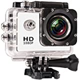 JIUSION White, Cam Only: 1080P Full HD Video Action Sport Mini Camera Waterproof Case DV Water Resistant Cam Underwater Diving 5MP Lens Camcorder