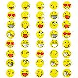 Oblique Unique® 40 Stück Gelbe Smiley Face Anstecker / Buttons - Verschiedene Motive - mit Sicherheitsnadel hinten - kräftige Farben für Gute Laune