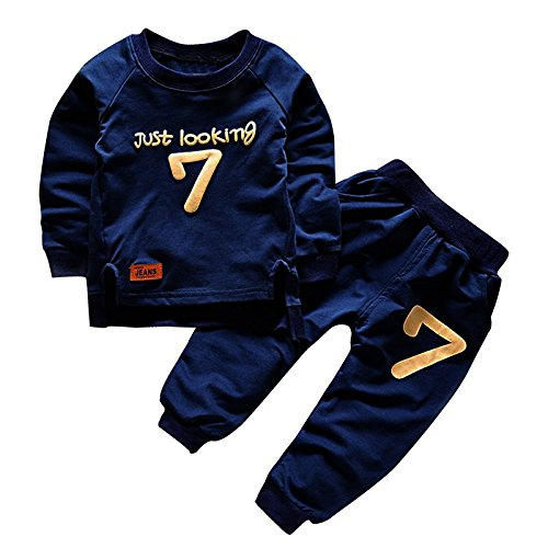 Puseky Toddler Baby Boy Girls Sweatshirt Top+Pants Outfits Tracksuits Sport Suit (3-4 Year)