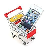 Agua y madera rojo Mini compras carretilla escritorio Supermercado Teléfono Soporte para bolígrafo, cesta para guardar juguetes