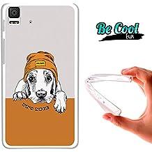 Becool® Fun - Funda Gel Flexible para Bq Aquaris E4.5 .Carcasa TPU fabricada con la mejor Silicona, protege y se adapta a la perfección a tu Smartphone y con nuestro diseño exclusivo Perro rapero