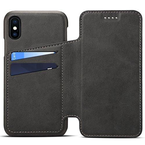 Harrms iPhone XR (6,1') Custodia Folio Cover Portafoglio multifunzione Uomo Donna con scomparti per carte involucro protettiva mobile, Nero